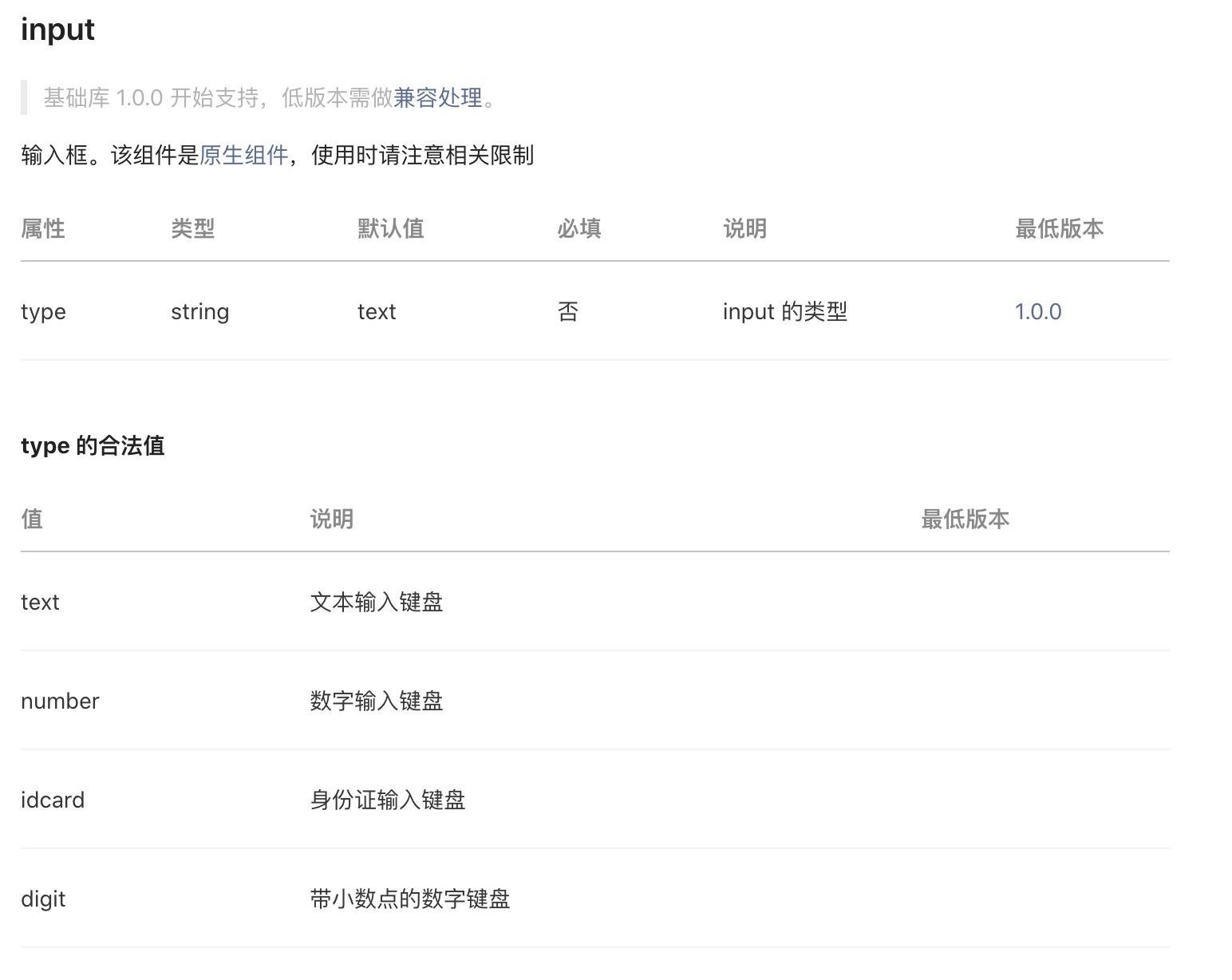 Input 组件的 type 属性